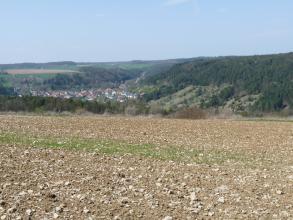 Blick auf einen sehr steinigen Acker im Vordergrund. Rechts dahinter steigen teils grüne, teils bewaldete Hänge empor. Links wird eine kleine, in einem Tal liegende Ortschaft von Wald eingefasst.