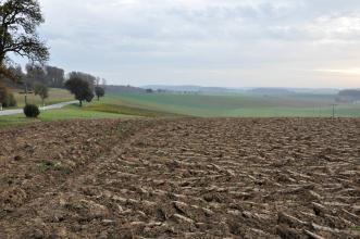 Blick auf einen grobscholligen, frisch gepflügten braunen Acker. Im Hintergrund ist die Landschaft grüner; mit flachen, bewaldeten Hügeln.