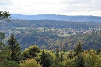 Blick aus großer Höhe über Baumwipfel auf hochliegende Wälder sowie schmale, mit Häusern bebaute Grünflächen. Im Hintergrund erheben sich bläulich gefärbte Höhen.