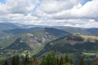 Blick von erhöhtem Standort auf zahlreiche markante Bergrücken, die sich bis zum Hintergrund ausbreiten. Die Berge sind zum größten Teil bewaldet, es gibt aber auch grasige und kahle Stellen, wie zum Beispiel rechts, wo die Bäume verschwunden sind.