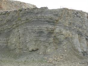 Blick auf eine graue Steinbruchwand. Im mittleren Teil ist ein bogenförmiger Verlauf der Schichtung erkennbar, hervorgehoben auch durch dunklere Streifen.