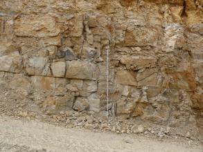Nahaufnahme einer Steinbruchwand aus hellem, deutlich gebanktem und geklüftetem Kalkstein. Mittig vor der Wand befindet sich ein Maßstab.