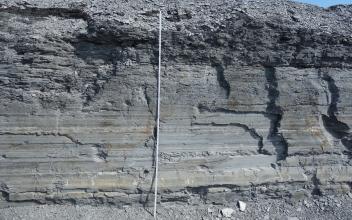 Blick auf eine Abbauwand in einem Steinbruch. Das anstehende Gestein weist im unteren Bereich horizontale Schichtlagerung auf und ist mittelgrau, der obere Bereich ist dunkelgrau und massig. Vor der Wand steht ein Maßstab.