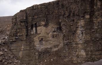 Blick auf eine Abbauwand eines Steinbruchs. Das dunkelrote Gestein ist an einigen Stellen etwas heller.