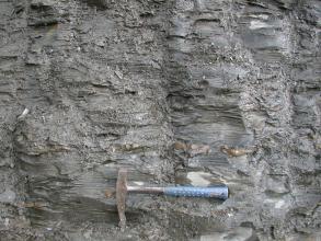 Blick auf eine graue Gesteinswand mit waagrecht verlaufenden feinen Furchen und Scherben. Unten mittig zeigt ein Hammer die Größenverhältnisse an.