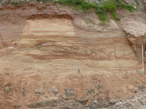 Das Bild zeigt einen Teil der Abbauwand in einer Sandgrube. Das gelblich braune Material ist im oberen Bereich von rötlichen Streifen durchzogen. Am Fuß der Wand sind größere Gesteinsbrocken eingelagert. Oben ragt Buschwerk ins Bild.