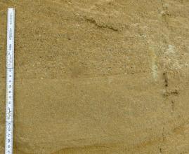 Großaufnahme einer Abbauwand in einer Sandgrube. Das hellbraune Material ist deutlich in zwei Lagen geteilt: unten mit glatter Oberfläche, oben mit Kieselsteinen durchsetzt. Ein Maßband links zeigt eine Höhe von 27 Zentimetern an.