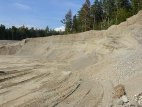 Das Bild zeigt die nach rechts ansteigende Abbauwand einer Kiesgrube. Am Fuß der Wand häuft sich abgerutschtes Material. Auf der Kuppe der Wand steht Nadelwald.