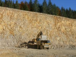 Ca. 40 m hohe Abbauwand eines Steinbruchs. Das Gestein ist hell und leicht gelblich angewittert und wird gerade durch einen Bagger in der Bildmitte abgebaut. Über der Wand wachsen Bäume.