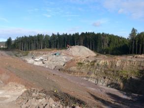 Blick auf die Abbauarbeiten in einer Sandgrube. Mehrere Bagger und Fördergeräte sind in der Bildmitte im Einsatz. Rechts erhebt sich ein länglicher, teilweise bewachsener Hügel. Links sind Abraumspuren zu erkennen. Im Hintergrund steht Wald an.