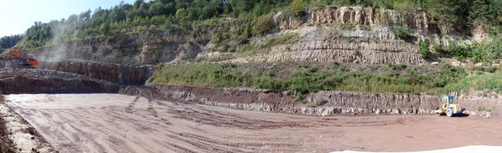 Panoramabild eines Steinbruches. Zu sehen sind mehrere, zum Teil stark bewachsene, Stufen. Im Vordergrund festgefahrene Erde. Links hinten sind noch zwei Bagger im Einsatz.