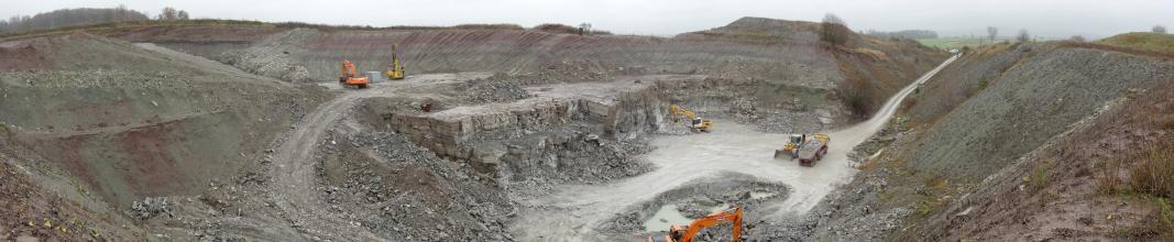 Panoramaansicht eines Steinbruch-Geländes. In der Mitte des Bildes sind halbhohe, abgestufte Gesteinswände, Fahrstraßen, Bagger und Ladefahrzeuge zu sehen. Rechts und links erheben sich hohe Abraumhalden.