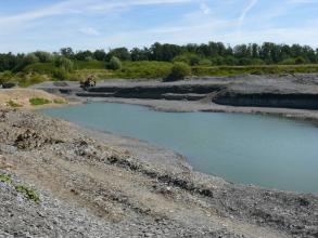 Blick in einen flachen Steinbruch, dessen unterste Sohle mit graublauem Wasser gefüllt ist und einen länglichen See bildet. Das Gestein ist mittel- bis dunkelgrau. Im Hintergrund ist Wald zu erkennen.