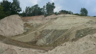 Blick auf eine Abbauwand in einer Tongrube. Deutlich zu sehen ist die Wechselfolge von grauen und rotbrauenen Gesteinen mit hellbeigen Gesteinen. Im Hintergrund über der Grube sind Bäume zu sehen.