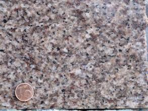 Nahaufnahme eines gleichmäßigen, mittelkörnigen Gesteins. Es gibt weiße, rosa und schwarze Kristalle. Links unten befindet sich eine 1-Cent-Münze als Maßstab.