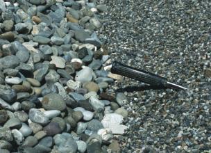 Nahaufnahme von grobem Kies links und feinkörnigem, dunkelgrauem Kies rechts. Der Griff eines Hammers im Feinkies zeigt die Größenverhältnisse an.