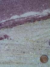 Nahaufnahme eines Gesteins, welches in den unteren zwei Dritteln des Bildes hellbeige ist und eine leichte Schichtung aufweist. Im oberen Drittel ist das Gestein dunkelrot. Rechts unten befindet sich eine Münze als Maßstab.