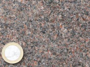 Detailaufnahme eines rötlich-grauen Gesteins, welches außerdem helle und dunkle Minerale aufweist. Die Kristalle sind klein. Unten links befindet sich eine 1-Euro-Münze als Maßstab.