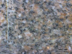 Detailaufnahme eines mittelkörnigen, hellrosagrauen, gleichkörnigen Gesteins. Das Bild ist leicht verschwommen. Rechts unten befindet sich ein Maßstab.