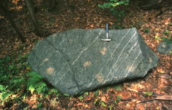Dioritblock mit seiner typisch mittelgrauen Farbe
