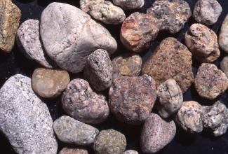 Nahaufnahme von größeren und kleineren Steinen, teils abgerundet, teils scharfkantig. Die Farben reichen von hellem Grau bis zu Brauntönen.