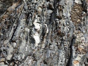 Nahaufnahme von freiliegendem, vertikal gebanktem, grauem Gestein mit weißen Einschlüssen.