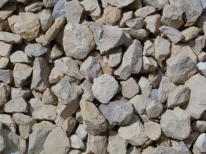Nahaufnahme von bräunlich grauem bis leicht bläulichem Schotter. Die Steine sind rund oder eckig, mit scharfen Kanten.