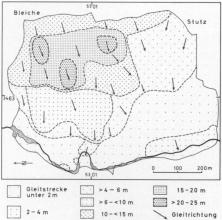 Schwarzweiß gezeichnete Karte eines Berghanges mit Gleitstrecken- und richtungen einer erfolgten Rutschung.