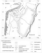 Schwarzweiß gezeichnete Karte einer Rutschung an einem Berghang.
