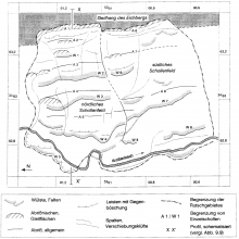 Schwarzweiße Karte eines Berghanges mit Merkmalen einer erfolgten Rutschung.