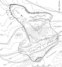 Schwarzweiße Karte mit Lage und Ausdehnung eines Bergrutsches.