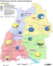 Übersichtskarte von Baden-Württemberg mit den Fördermengen von Rohstoffen (in Tonnen) in den einzelnen Regionen, dargestellt jeweils als farbiges Tortendiagramm.