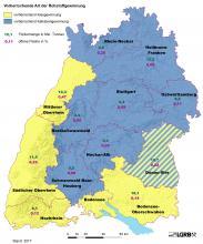 Übersichtskarte von Baden-Württemberg, die die Gewinnung von Kies (gelb) und Kalkstein (blau) in den einzelnen Regionen zeigt. Zusätzlich eingetragen sind die Fördermengen (in Millionen Tonnen) und die offenen Flächen (in Prozent).