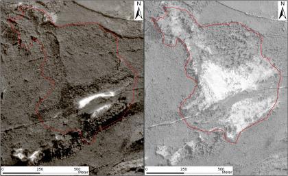 Das Bild zeigt zwei schwarzweiß Luftbildaufnahmen eines bewaldeten Hangabschnitts vor und nach der Entstehung des Bergrutsches.