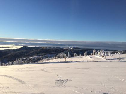 Blick über einen nach links und zum Hintergrund hin abfallenden, verschneiten Hang. Dahinter erheben sich bewaldete Höhenzüge. Am Horizont sind graue Wolkenbänke, darüber blauer Himmel sichtbar.