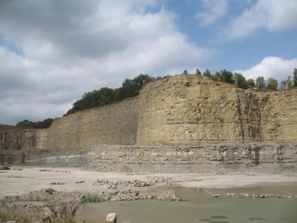 In der Bildmitte befindet sich eine sehr hohe, nach vorne gewölbte Aufschlusswand aus hellgelbem bis gräulichem Kalkstein. Der Aufschluss befindet sich in einem Steinbruch.