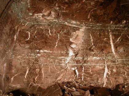 Wand aus dunkelrotem Gestein mit vielen horizontal und vertikal verlaufenden Spalten, welche mit weißem Gestein gefüllt sind.