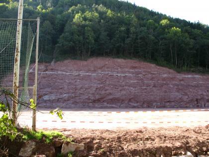 Blick auf einen rötlich grauen, bewaldeten Felshang. Im oberen Teil des Gesteins sind weiße waagrechte Streifen erkennbar.