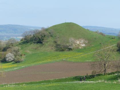 Das Bild zeigt einen kegelförmigen grünen Hügel oberhalb eines durch einen Fußweg getrennten braunen Ackers. Die linke Hangseite des Hügels ist von Bäumen und Sträuchern bewachsen, rechts ragt offenes Gestein heraus.