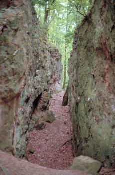 Blick auf einen schmalen, von graugrünen Felswänden eingefassten Wanderweg.
