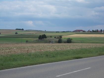 Vorne rechts befindet sich eine Straße. Dahinter liegen leicht hügelige Felder mit vereinzelten Büschen. Der Himmel ist bewölkt.