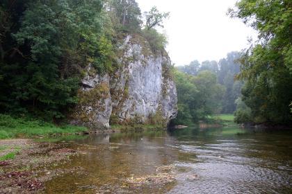 Am linken Ufer eines seichten Flusses erheben sich graue, teils bemooste Felsen. Links davon, im Hintergrund sowie am rechten Flussufer stehen Bäume.