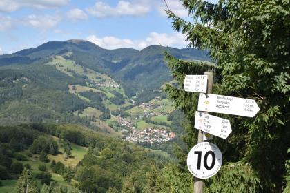 Blick von erhöhtem Standort auf eine Schwarzwald-Landschaft mit bewaldeten Bergen, waldfreien Hängen und einer Ortschaft. Rechts im Vordergrund, vor einem Nadelbaum, steht ein Schild mit verschiedenen Wegweisern.