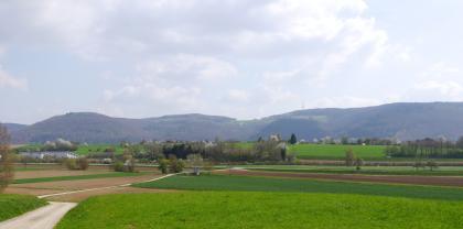 Einem Damm ähnlich trennt eine grüne, von Bäumen bestandende Erhebung die flache Wiesen- und Äckerlandschaft im Vordergrund von den bewaldeten Höhenzügen im Hintergrund.