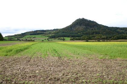 Im Mittelpunkt der Aufnahme steht rechts im Hintergrund ein pyramidenförmiger, bewaldeter Berg. Links davon sind teilweise bewaldete Hangausläufer zu sehen. Zum Vordergrund hin ziehen sich flache, teils begrünte und blühende Äcker.