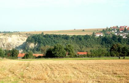 Hinter einer landwirtschaftlichen Nutzfläche ist links ein gelblich weißer Steinbruch zu sehen. Rechts schließt sich ein bewaldeter, horizontal verlaufender Hang an. Im Hintergrund ist eine nach rechts ansteigende Ebene sowie eine Ortschaft erkennbar.