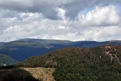 Blick aus großer Höhe auf einen teilweise bewaldeten, nach rechts ansteigenden Bergrücken. Dahinter folgen weitere Berge, wovon der letzte eine abgeflachte, waldlose Kuppe mit einem Aussichtsturm zeigt.