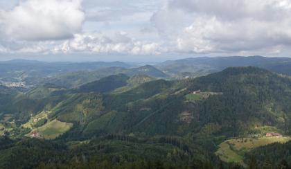Blick aus großer Höhe auf zahlreiche bewaldete Berge. An Hängen und tieferen Stellen finden sich baumlose Flächen mit einzelnen Häusern. Links hinten ist auch eine größere Siedlung erkennbar.