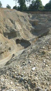 Das Foto zeigt Seiten- und Rückenwand eines feinkörnigen, gelblich braunen Steinbruches mit deutlichen Abbauspuren. Links ragt eine hohe Abraumhalde ins Bild.