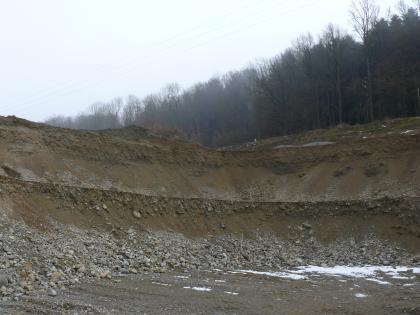 Das Bild zeigt eine mehrstufige, dunkelbraune Abbauwand von Gestein. Am Fuß der Wand sind Schotter aufgehäuft. Eine höherliegende Kuppe rechts ist bewaldet.